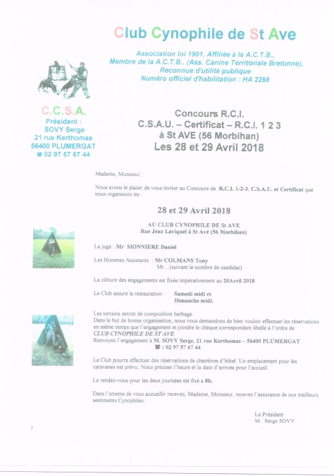 concours club canin Saint Ave 5613032018